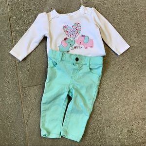 Elephant Love Toddler 2 piece outfit